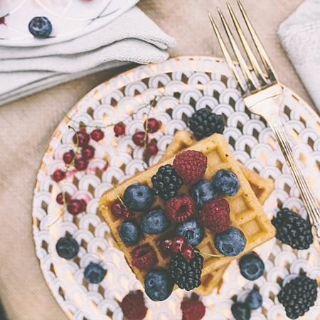 Waffel mit Obst